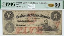 T-32 Pf-1 $5 Confederate Paper Money 1861 - Pmg Very Fine 30 - Color! Choice!