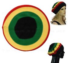 70s Party REGGAE GREEN YELLOW RED Striped Jamaica Jamaincan Hat Beanie Beret