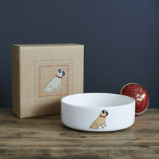 Sweet William Ceramic Dog Food Or Water Bowl / Dish Cute PUG Design | Pet Gift