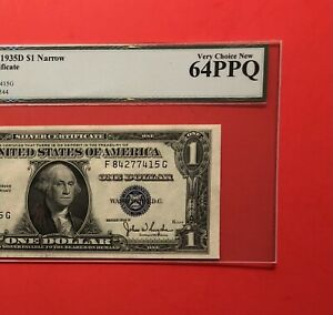 1935 D - $1 SILVER CERTIFICATE NOTE,GRADED BY LEGACY VERY CHOICE NEW 64 PPQ.