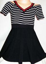 GIRLS BLACK & WHITE STRIPE SPORTY STYLE CHEERLEADER MINI PARTY DRESS age 5-6