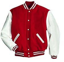 American windhound College veste rouge avec blanche véritable cuir manches M