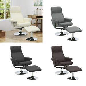 Recliner Armchair Leather and Footstool Lounge Sofa Gaming Office Swivel Chair