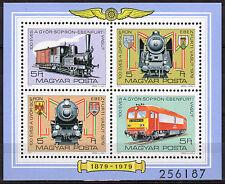 HUNGARY MAGYAR 1979 Gyor-Sopron-Ebenfurt Rail Service-Sheet of 4 MNH - FREE SHIP