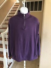 Peter Millar 1/4 Zip Golf Pullover Sweater Sweatshirt Purple 100% Cotton Xl