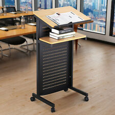 Wheeled Lectern Rolling Podium Mobile Compact Stand up Desk w/Storage Shelf