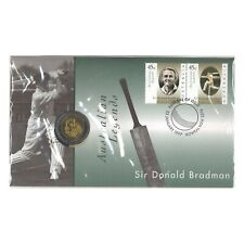 Australia 1997 Sir Donald Bradman Cricket $5 Dollar UNC Coin & Stamp PNC Cover