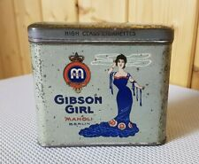 Vertikale Blechdose MANOLI Zigarettendose GIBSON GIRL 20 Cigarettes old tin