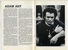 ADAM ANT Single Bullet Theory Authentic 1982 One-show Concert Program