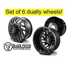 "20"" 8x6.5 Strike Dually Wheels Gloss Black and Milled 20x8.25 Set Of 6 8x165.1"
