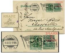 Germany, uprated postal card with PERFIN of card and stamp Nice Leipzig cancel