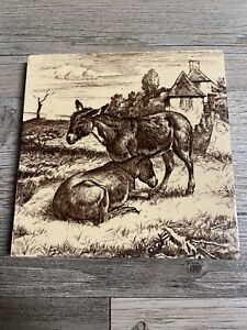 "Minton China Works 6"" Donkey Farm Print Tile Antique Vintage"