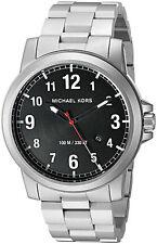 NEW MICHAEL KORS MK8500 PAXTON SILVER TONE BLACK DIAL WATCH CALENDAR + MK BOX