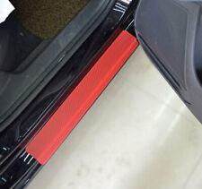 Red Carbon Fiber Vinyl Decal Sticker Car Door Sill Scuff Cover Scratch Protector