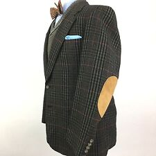 Evan Picone Men's 44R Striped Check Tweed Elbow Patch Sportcoat Blazer Jacket