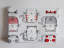 Cute Sketched Cat Fabric Handmade Zippy Coin Purse Storage Pouch