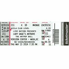LADY GAGA Full Concert Ticket Stub WASHINGTON DC 5/15/14 THE ARTPOP BALL TOUR