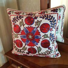 Uzbek embroidered suzani pillow cover 16x16,throw lumbar red pillow case boho