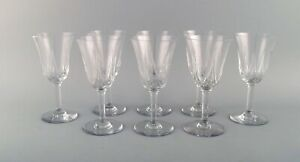 St. Louis, Belgium. Eight red wine glasses in mouth-blown crystal glasses.
