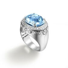JOHN HARDY BLUE TOPAZ & WHITE SAPPHIRE BATU BAMBOO COLLECTION Ring  SIZE 7
