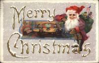Christmas - Santa Claus Elf Family Dinner - American Flagc1915 Postcard