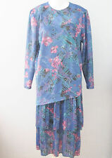 D'ALLAIRD'S Blue  Size 14 Long Sleeve Tiered Bottom Pleated Floral Dress