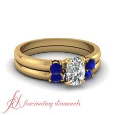 .80 Ct Three Stone Wedding Set For Women With Cushion Cut Diamond And Sapphire