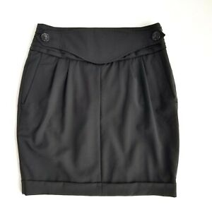 Body By Victoria Pleated Skirt Womens 10 Wool Black Buttoned Panel Straight