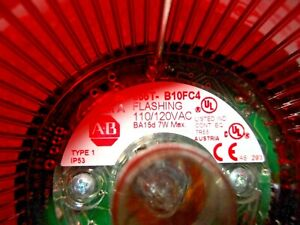 ALLEN BRADLEY 855T-B10FC4 SER A FLASHING RED STACK LIGHT