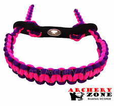 Neon Pink & (acid) Neon Purple Bow paracord wrist sling w/ Leather
