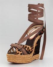 CHRISTIAN LOUBOUTIN Isabelle Calf Hair Leopard Print Wedge Sandal Shoe 39 NIB
