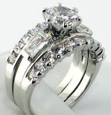 2.71 Ct. CZ Solitaire Bridal Wedding Engagement 2 PC. Ring Guard Set - SIZE 9