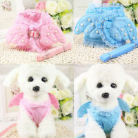 Pet Safety Walking Dog Costume Vest Harness & Lead Leash Angel Wings Lace Pearls