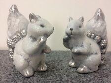 2er Juego Squirrel Brillo Plata 11cm Invierno Stock Caminata Del Bosque Putzig