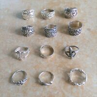 ~Scrolled~ 925 Sterling Silver Rings Jewelry Lot