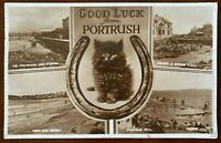 Good Luck from Portrush Postcard Co Antrim Northern Ireland Posted 1953 Cats