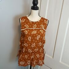 5ed6134c680222 Zara Womens Sleeveless Brown and White Paisley Print Cotton Blouse Size  Large