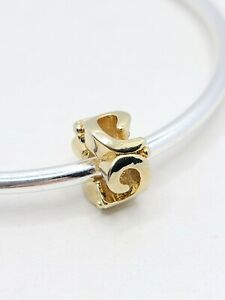 Gold Swirl Spacer Charm Fits European & Brand Name European Charm Bracelets