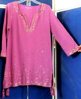Beautiful EMBROIDERY & SEQUINS Long TUNIC TOP by SOFT SURROUNDINGS Purple S