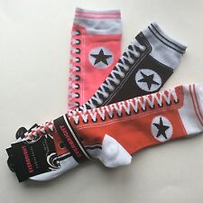 3 PAIRS LADIES SNEAKER NOVELTY SOCKS*LIKE AN OLD FASHIONED SNEAKER*RED/BLK/LIME