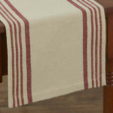 Rustic Stripe Deep Red Cream Woven Cotton Country Farmhouse Table Runner
