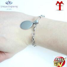 Unique Engraved 'Anastasia' Oval Charm Bracelet FREE Engraving and UK Postage