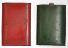 Gundpowder Tins Flasks Black Powder Vintage Red Green Metal Tin Lot 2 1 lb Oval