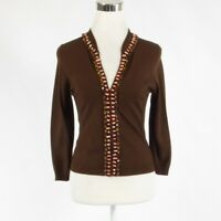 Brown ECCOCI beaded 3/4 sleeve cardigan sweater S