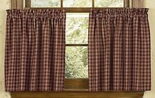 Primitive Country Wine Sturbridge Tier Curtains 72WX36L Plaid Cotton Farmhouse