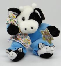"COMMONWEALTH HUG-A-PLUSH~12"" PLUSH COW WITH BLUE PAJAMAS, SLIPPERS & BLANKET~NEW"