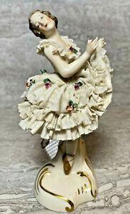 ANTIQUE Dresden Porcelain Ballerina Germany Pre-War Brunette White Dress Flowers