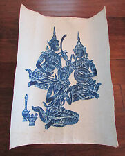 Vintage Embossed Blue on White Thai Buddhist Temple Musicians Wall Art Decor