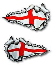 XXL Lunga MANO COPPIA RIPPED TORN METAL England St Georges Cross Bandiera Auto Adesivo