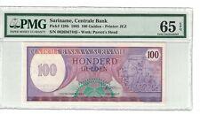 SURINAME 100 Gulden 1985 Pick# 128b PMG: 65 EPQ GEM UNC. (#1843)
